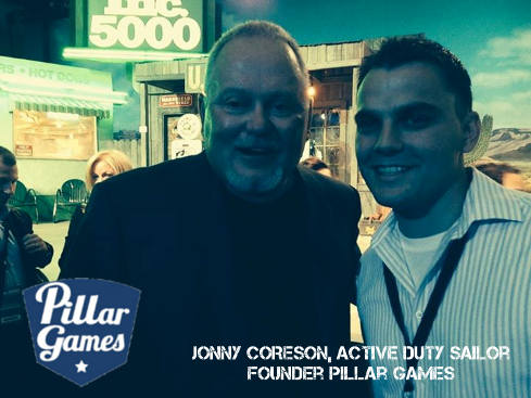 Jonny Coreson (r) Founder Pillar Games with Bob Parsons, Veteran Marine and Founder GoDaddy